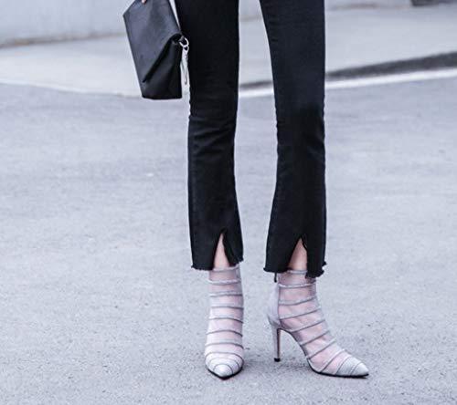 Uniti Scarpe Strass in Sandali 36 Stati Gray Mesh Europa da Pelle Colore Donna Alto Boots e Summer Tacco Season Net con Dimensioni xwpZ04qOX