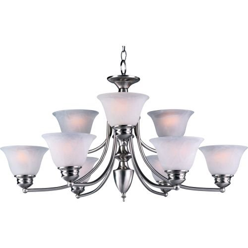Malaga Finish Chandeliers (Maxim 2685FTSN Malaga 9-Light Chandelier, Satin Nickel Finish, Frosted Glass, MB Incandescent Incandescent Bulb , 60W Max., Dry Safety Rating, Standard Dimmable, Opal Glass Shade Material, Rated Lumens)