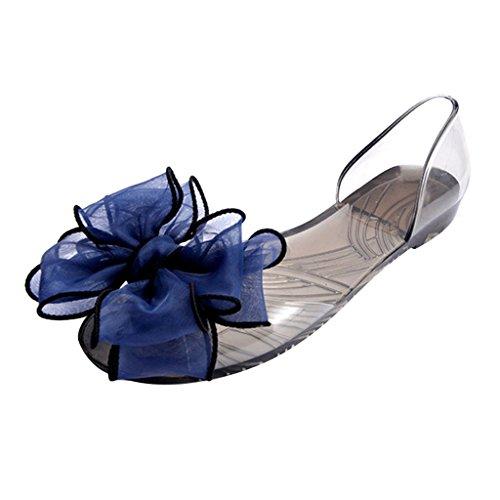Beste Tijd Pvc Sandalen Vrouwen Rozet Peep Toe Slip Op Flip Flop Jelly Schoenen Steen Blauw
