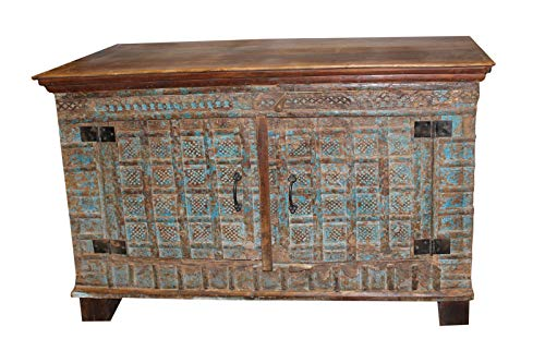 Mogul Interior Antique Indian Solid Sideboard Distressed Reclaimed Wood Vintage Storage Chest TV Console ()