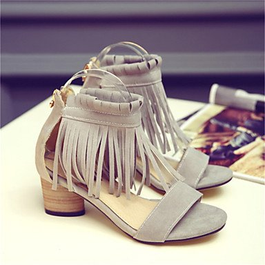 LvYuan Tacón Robusto-Confort Innovador Zapatos del club-Sandalias-Oficina y Trabajo Vestido Informal-Vellón Materiales Personalizados-Negro Gris gray