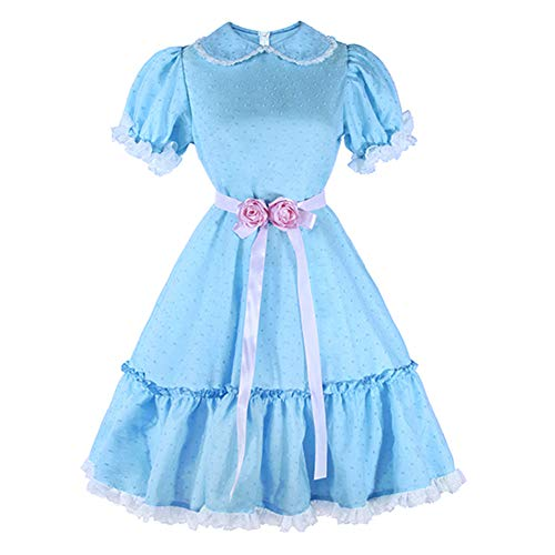 Womens Twins Chiffon Lolita Blue Dress Short Sleeve Sweet Dress for Halloween Cosplay Costume XL -