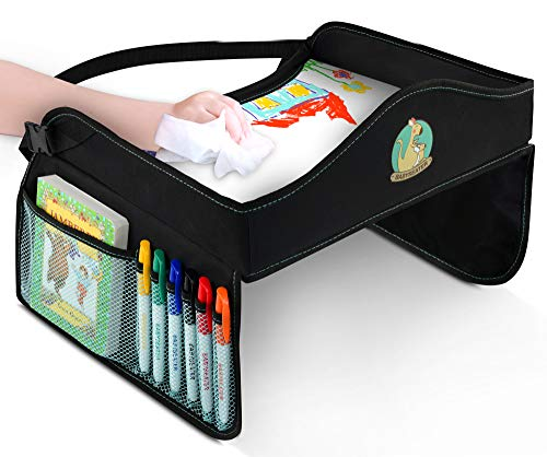 Play Tray Kids Travel Tray with Dry Erase Top for Snacks & Car Activities for Toddlers - Dry Erase Markers Gift - Child Car Seat Tray for Travel by Car ()