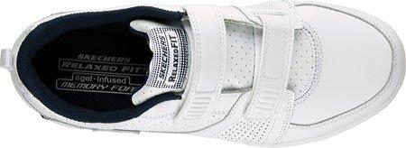 UOMO SKECHERS vestibilità comoda RICORDO schiuma Archad II Crunch Time Pelle PASSEGGIO SPORT Scarpe sportive, MODA - Bianco / Navy, 44