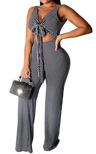 BestGirl Women's Sexy Striped Jumpsuits Tie Front Sleeveless Elastic Waist Palazzo Wide Leg Pants, Black Stripe, Small