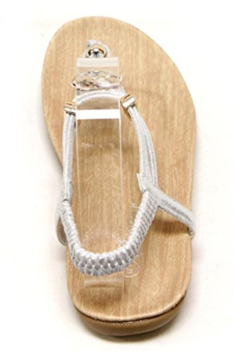 elastic thong 84 Silver Calista heart ball T sandals and 10 golden ankle strap strap Womens decor Forever OZqxvwR5w