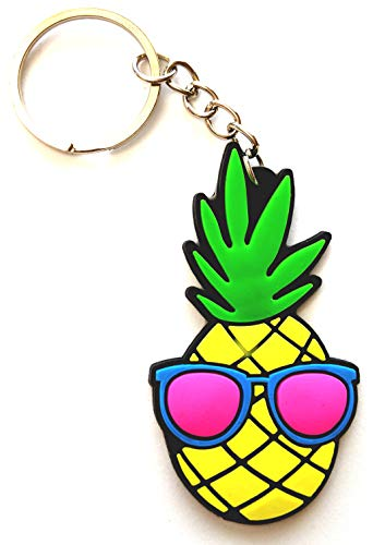 GT//Rotors Pineapple Rubber Cool Glasses Face Keychain Soft Pine Apple Car Keys Accessory