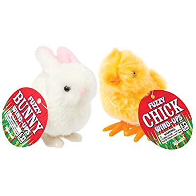 Happy Hopper Fuzzy Chick and Easter Bunny Wind up Plush: Toys & Games