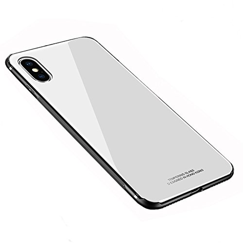 White Back Case - iPhone X Case, HONTECH Silicone Shockproof Tempered Glass Mirror Back Cover Bumper Shell for Apple iPhoneX 10, White