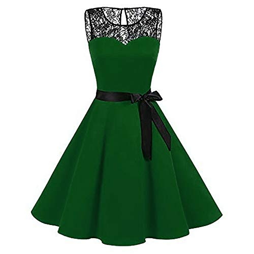 eless Dresses Solid Lace Hepburn Vintage Swing High-Waist Pleated Dress Chiffon Retro Party Prom Big ()