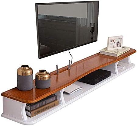 H.aetn Mueble de TV de Madera Maciza de Pared, enrutador WiFi/decodificador/Estante de Almacenamiento Multimedia, Estante Flotante de TV, 100 cm / 120 cm: Amazon.es: Hogar