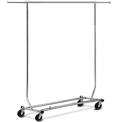 Yahee Metall Kleiderständer Kleiderstange Wäscheständer Garderobenständer mit Rollen Breite-und Höheverstellbar