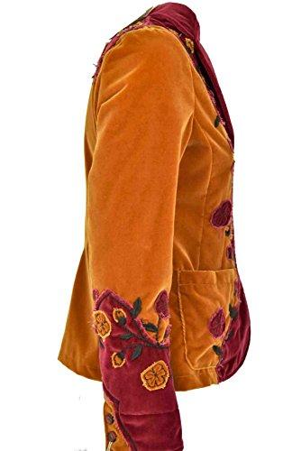 con Mujer Terciopelo Burdeos Naranja y Capalbio Chaqueta Casual Algodón Flores Chaqueta Naranja Chic de Country tpwqWHSx