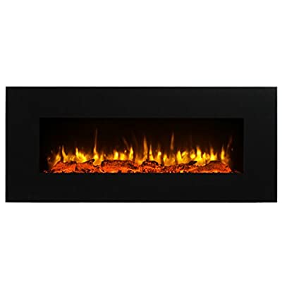 """PuraFlame Serena 50"""" Wall Mounted Linear Electric Fireplace, Log Set, Remote Control, 1500W, Black"""