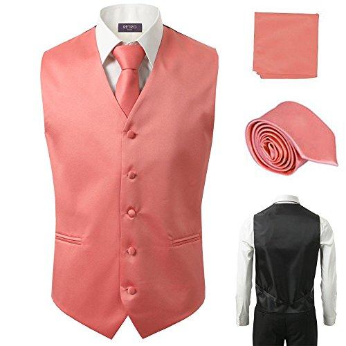- 3 Pcs Vest + Tie + Hankie Coral Fashion Men's Formal Dress Suit Slim Tuxedo Waistcoat Coat (XX-Large)