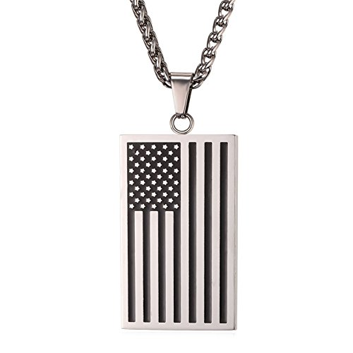 Stainless Steel Chain US Independence Day USA Flag Design Pendant Enamel Dog Tags Necklace (Silver Pendant Charm Tag Dog)