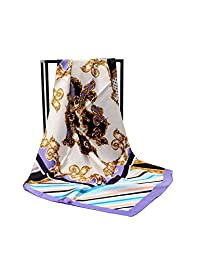 HanHe Women's Large Satin Square Silk Feeling Hair Scarf 35 x 35 inches