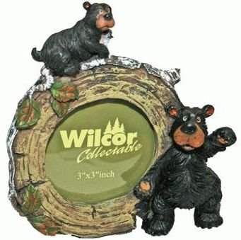 (Circular Bear with Cub on Birch Log Picture Frame, 2.25