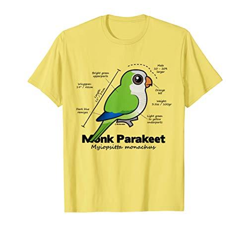 Monk Parakeet - Cute Monk Parakeet Statistics T-Shirt   Cartoon Parrot Shirt