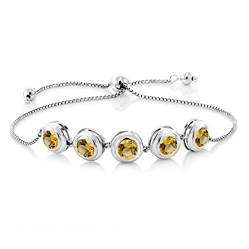 Gem Stone King 3.50 Ct Round Yellow Citrine 925 Sterling Silver Adjustable Tennis -