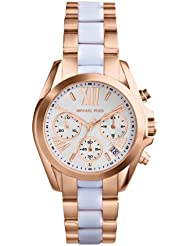 Michael Kors Womens Safari Chic Mini Bradshaw Watch, Rose Gold/White, One Size