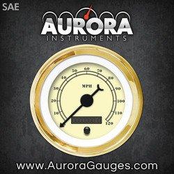 Aurora Instruments (GAR210ZEXHAABC) All American Classic Tan Speedometer Gauge