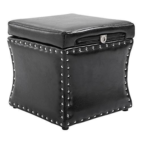 HomCom 17 Cube Faux Leather Storage Ottoman Footrest With Decorative Pull Out Tray Black