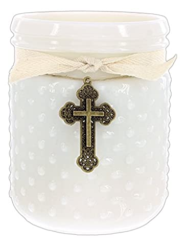 Classic City Gift 14 Ounce Soy Candle in Vintage Hobnail White Milk Glass Jar (Seaside Cotton) - 14 Oz Glass Jar