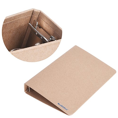 BCP 2pcs Kraft Paper 6-Holds Round Ring Binder Binding Hard Cover Protector For Journal Note Book (A5 (Small Binding Rings)