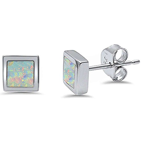 (Square Shape Lab Created Stud .925 Sterling Silver Earrings Three colors available (Lab Created White Opal))