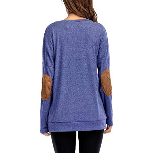 Stampa da Shirt T Arcobaleno Stampa con Maniche Donna Dimensione Jahurto Lunghe con Colore Shirt Lunghe a a L Blu t Gomito Lettere Maniche wEaqp