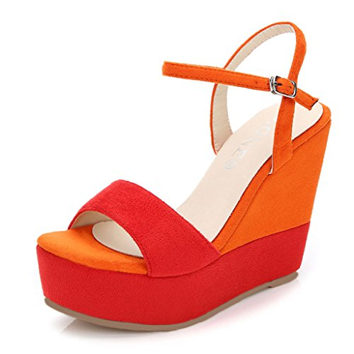 Open Sexy toed Heels Women's Fashion Shoes Platform Bottom Thick Sandals Wedge 12cm High Orange PnxvTwUUB