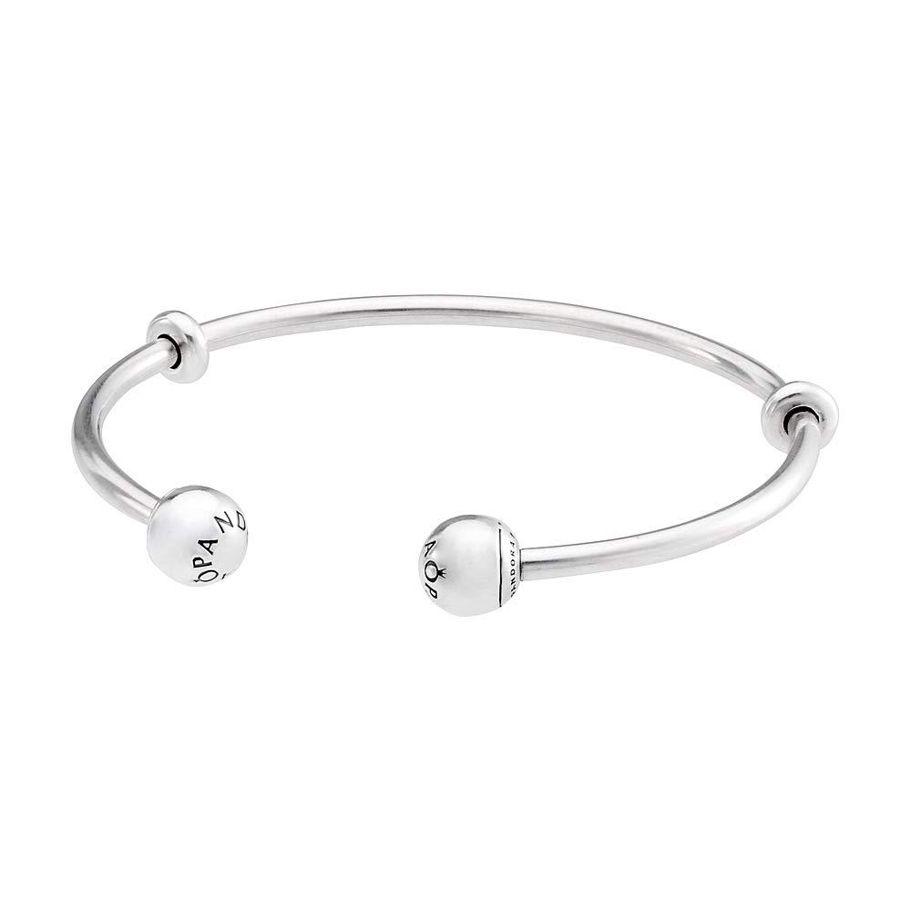 Pandora Moments Silver Open Bangle Bracelet with Pandora Logo Caps 5964773