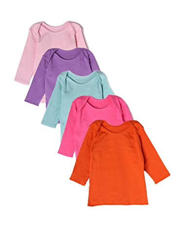 t of Chums Baby Infant Long Sleeve Lap tee Shoulder Multicolor Pack of 5 Girls 100% Cotton ()
