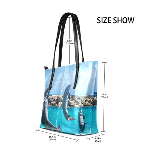 Coosun Jumping Dolphin Pu Leather Handbag Bags Purse And Tote Bag For Women Means Muticolour