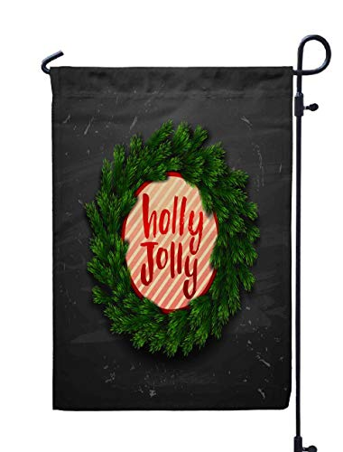 Shorping Welcome Garden Flag, 12x18Inch Christmas Greeting Card Wreath Happy New Year Xmas Background Calligraphy Concept Handwritten Holly for Holiday and Seasonal Double-Sided Printing Yards Flags