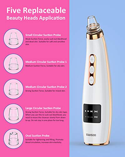 Blackhead Remover Pore Vacuum, EUASOO Facial Pore Cleanser Electric Acne Comedone Extractor Kit USB Rechargeable Face…