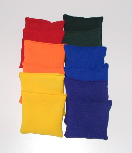 and purple with drawstring storage bag yellow Bear Paw Creek Square 4 Bean Bags two each blue orange direct from USA manufacturer red green