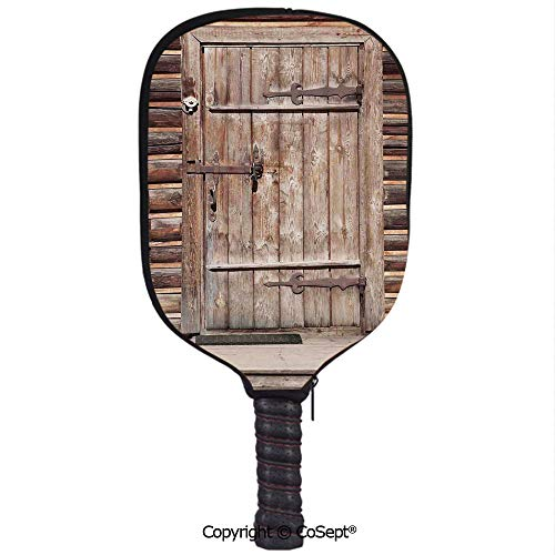 (PUTIEN Neoprene Racket Set,Timber Rustic Door in Wall of an Old Log House Ancient Abandoned Building Entrance Gate Print,Protect Your Paddles from Scrapes & Dings(8.26x11.61 inch) Brown)