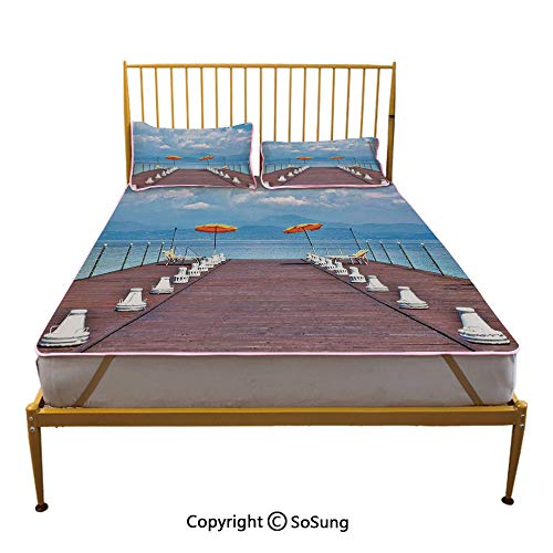 Seascape Creative King Size Summer Cool Mat,Luminous Sunshades and Sun Beds On a Jetty at Lake Seascape Scenic Sleeping & Play Cool Mat,Blue Orange Dried Rose