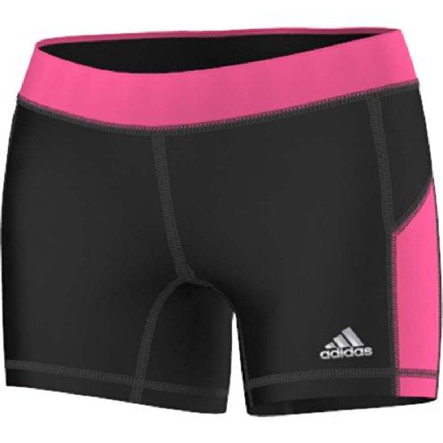 adidas Sport Performance Techfit 5-Inch Boy Shorts, Black / Neon Pink, Large