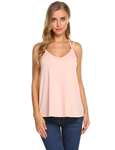 - Grabsa Women's Flowy V-Neck Double Straps Sleeveless Cross Back Tank Top Shocking Pink S
