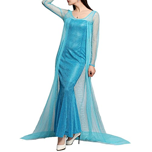 Elsa Costumes Adult Small (AE2 Adult Elsa Mermaid Dress Snow Queen Halloween Costume Cosplay S-XXL USA (Small))