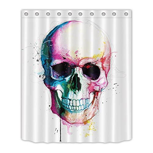 LB Colorful Halloween Skull Shower Curtains Skeleton Scary