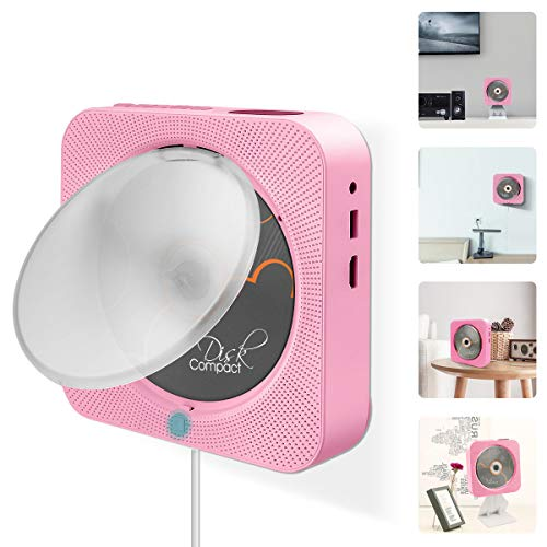 Portable DVD Player, VIFLYKOO Bluetooth Wall Mountable DVD/CD Player with Full-HD 1080p Remote Control Built-in HiFi Speakers FM Radio, AV Jack & USB & HDMI Connection, Pink (Player Pink Dvd)