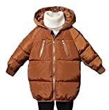 XiaoTianXinChildrenscostumes XTX Boys Padded Winter Down Quilted Hoodid Zip Pocket Jacket Parka Coat Coffee 3T