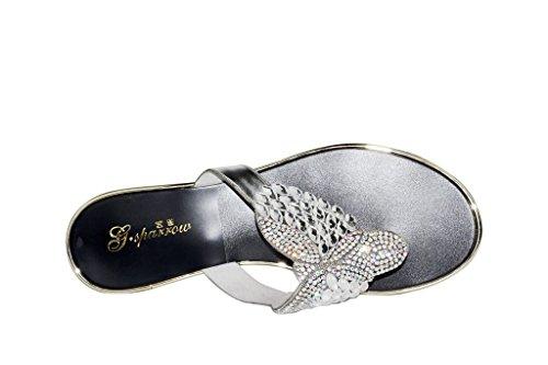 Meijili ,  Damen Peep Toes Silber