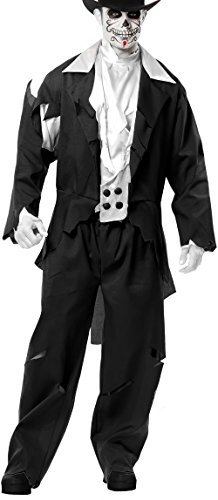 Ghost Groom Costume (Charades Adult Large 42-44 Black Zombie Prom Ghost Groom)