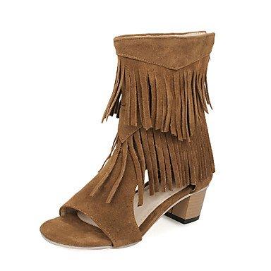Sandalias mujer Primavera Verano Comfort polipiel vestir casual Chunky talón Borla caminando Brown