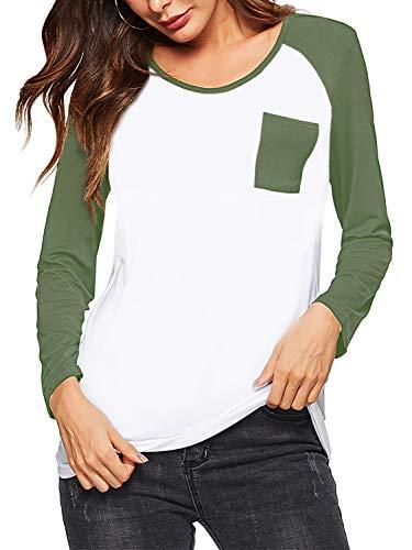 Amoretu Womens Long Sleeve Raglan Baseball T-Shirt Plus Size Army Green XL ()